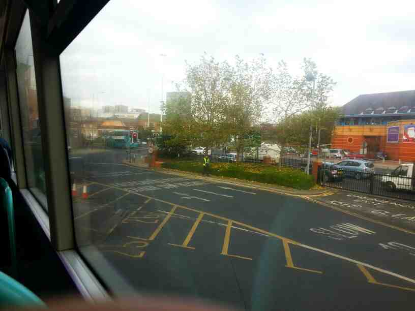 Pulling out of Leeds City Bus Station on a X84 bus bound for Skipton