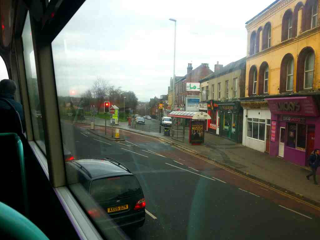 Passing the end of Raglan Rd on Woodhouse Lane the A660 on a X84 bus