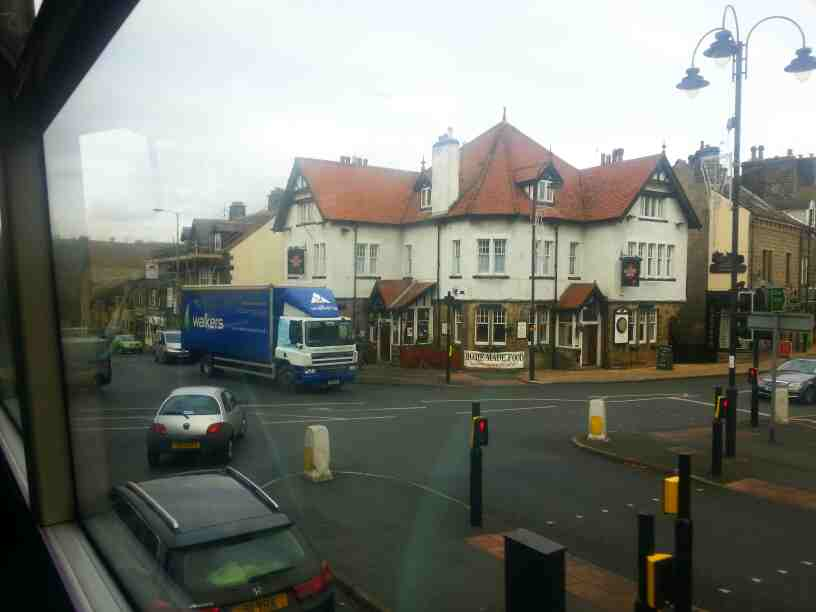 Turning off Brook St onto Church Street the A65 Ilkley on a X85 bus. We get a good view of the Dalesway Hotel at this point