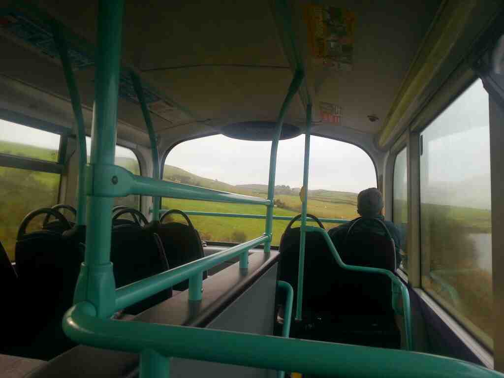 Inside an X84 bus between Addingham and Draughton