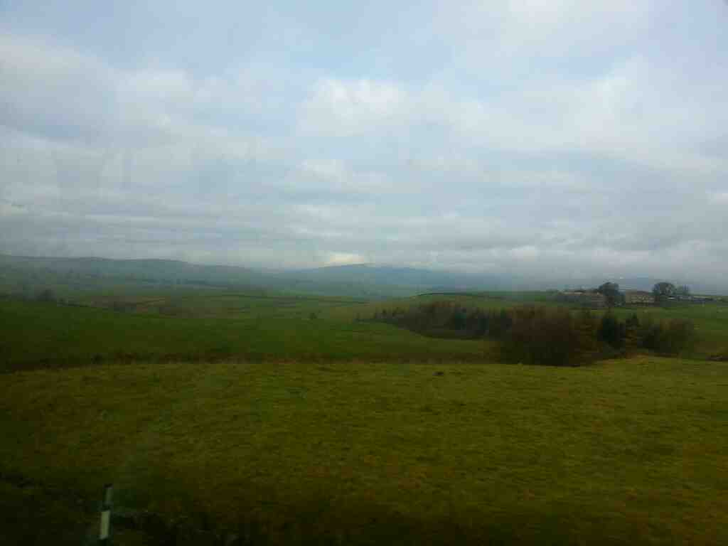 View of the Yorkshire Dales from an X84 bus on the A65