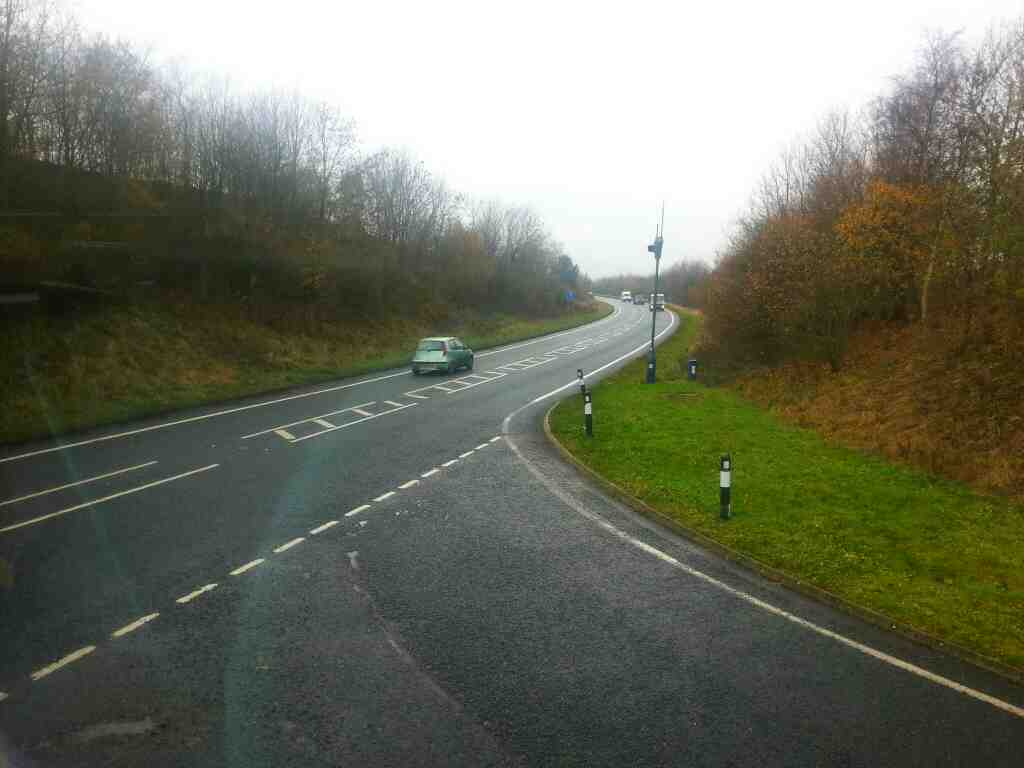 Western end of Draughton bypass A65 on an X84 bus