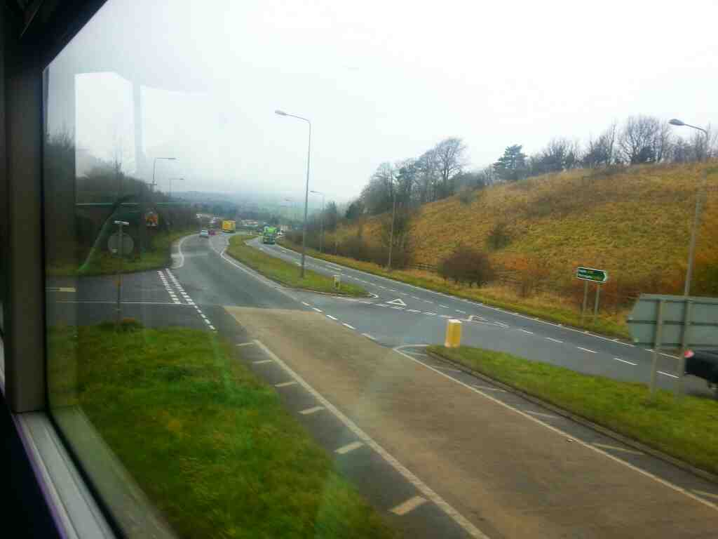Turning into the Bailey the old A59 off the Skipton bypass on an X84 bus