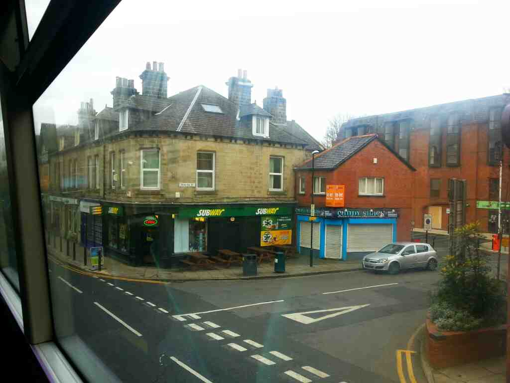 Passing Subway Headingley and the end of Shire Oak St off an X84 on Otley Rd
