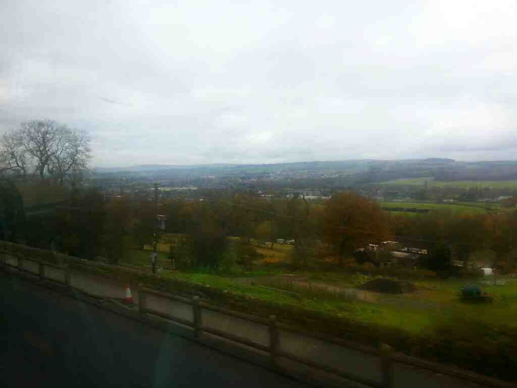 View of Otley from the A660 Leeds Rd off a X84 bus