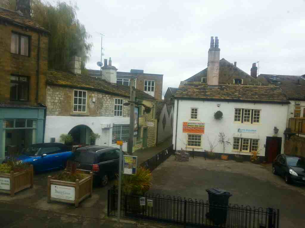Passing tthe Woolpack Music and Arts Studio Bondgate Otley on an X84 bus
