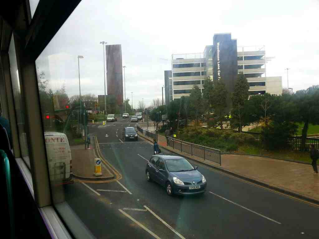 Woodhouse Lane the A660 Leeds from a X84 bus