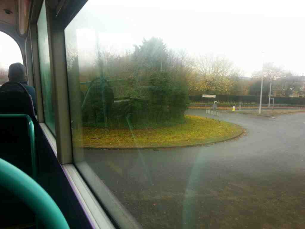 Turning into Burley in Wharfedale on an X84 bus