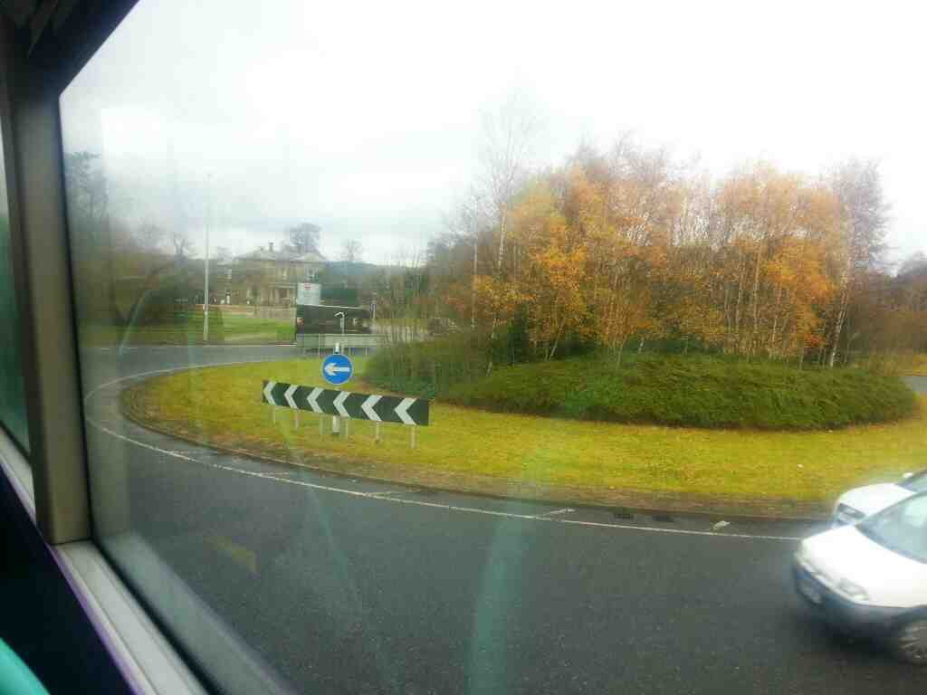 Roundabout at the end of the Burley in Wharfedale bypass A65 next to the Generous Pioneer Pub
