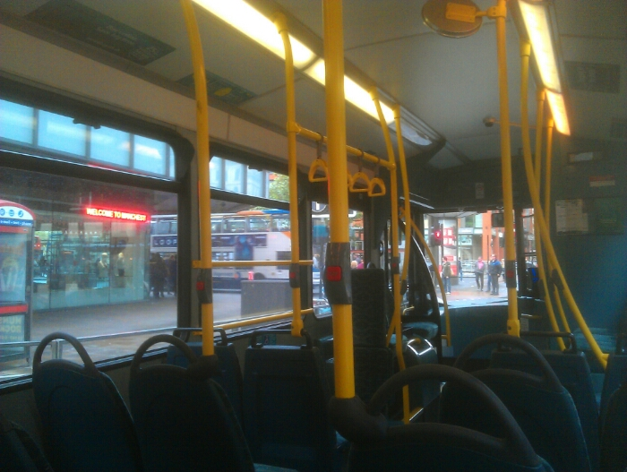 View of Piccadilly gardens from the bus.