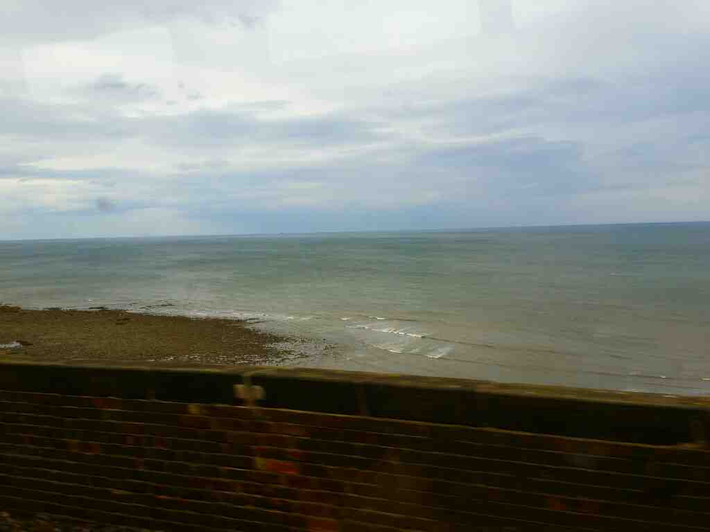 A view of the beach south of Seaham on a Northern Rail Middlesbrough to Newcastle train