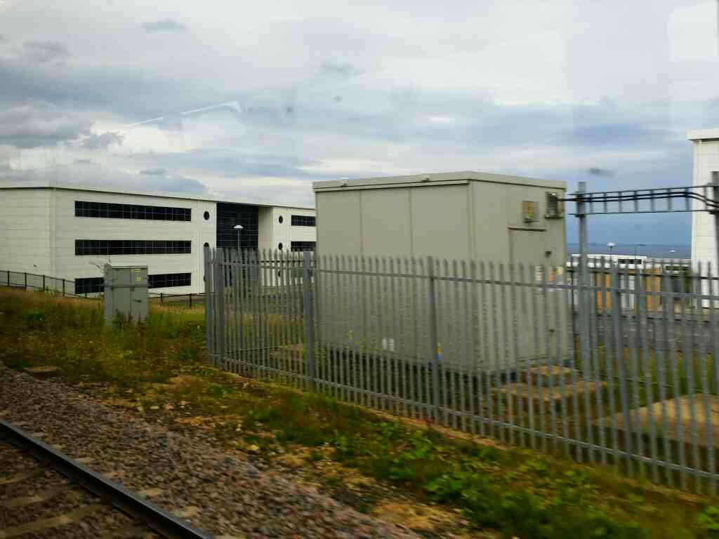 Overlooking the sea at the Spectrum Business Park on a Northern Rail Middlesbrough to Newcastle train