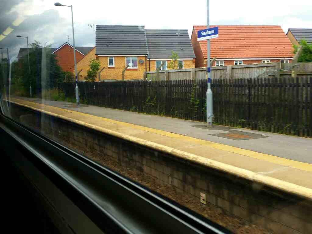 Pulling out of Seaham on a Northern Rail Middlesbrough to Newcastle train