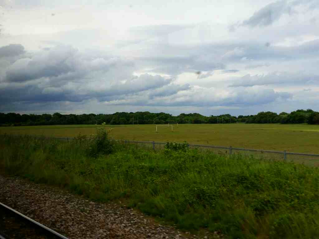 Passing Playing Fields aa we head out of Seaham on a Northern Rail Middlesbrough to Newcastle train