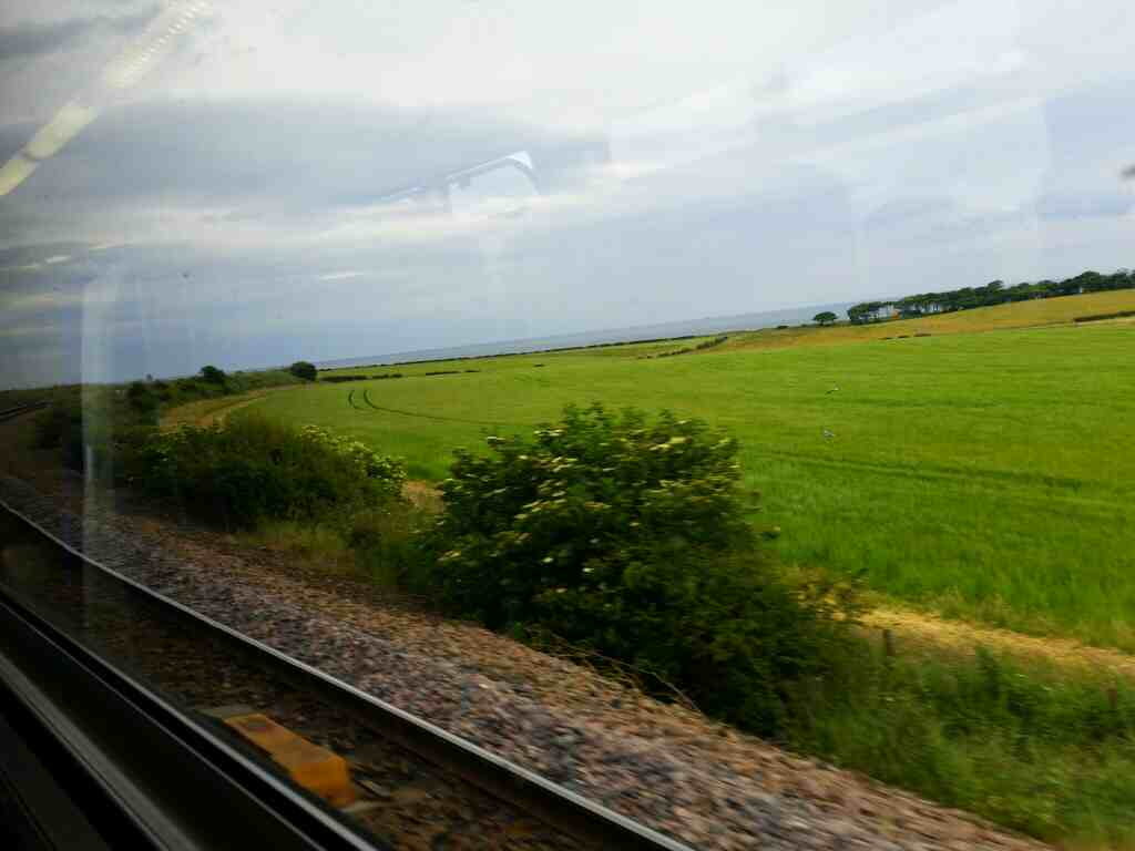 The North Sea north of Seaham County Durham on a Northern Rail Middlesbrough to Newcastle train