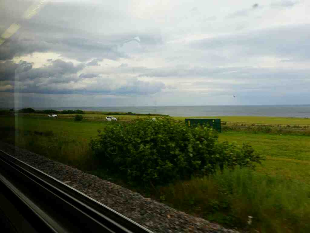 Between Hartlepool and Sunderland  on a Northern Rail Middlesbrough to Newcastle train