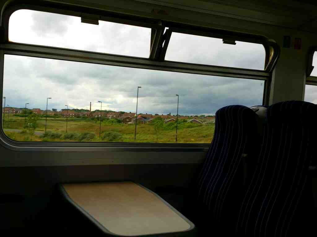 Looking through to the opposite side of the train at Ryhope on a Northern Rail Middlesbrough to Newcastle train