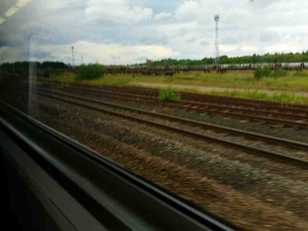 Passing the Tees Marshalling Yard on a Northern Rail Middlesbrough to Newcastle train