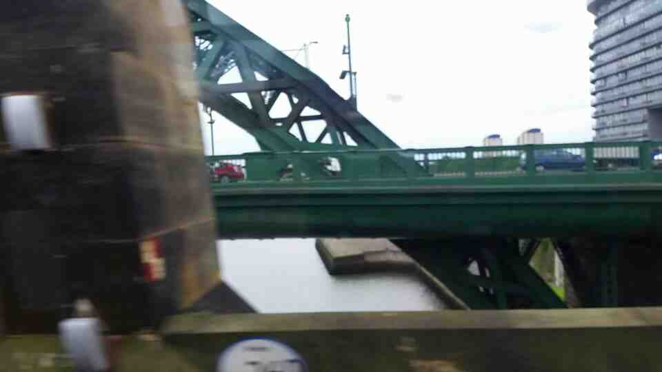 Crossing the Monkwearmouth Bridge Sunderland on a Northern Rail Middlesbrough to Newcastle train