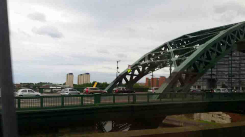 Looking back at the Wearmouth Bridge on a Northern Rail Middlesbrough to Newcastle train