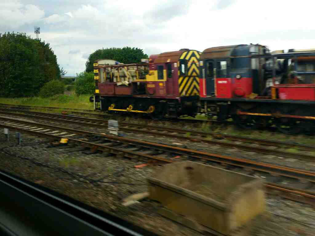 08 shunter's near the site of the old Thornaby locomotive depot on a Northern Rail Middlesbrough to Newcastle train