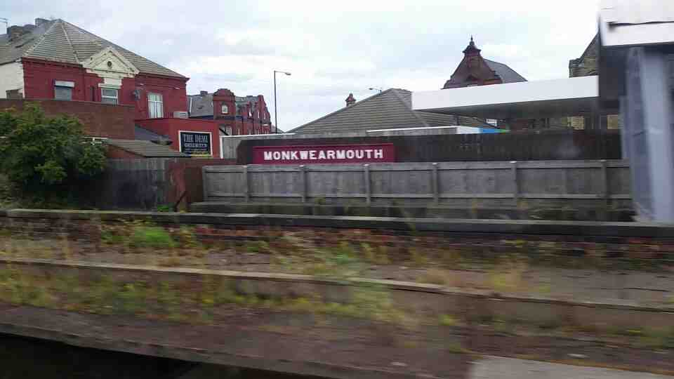 Speeding out of Monkwearmouth station on a Northern Rail Middlesbrough to Newcastle train