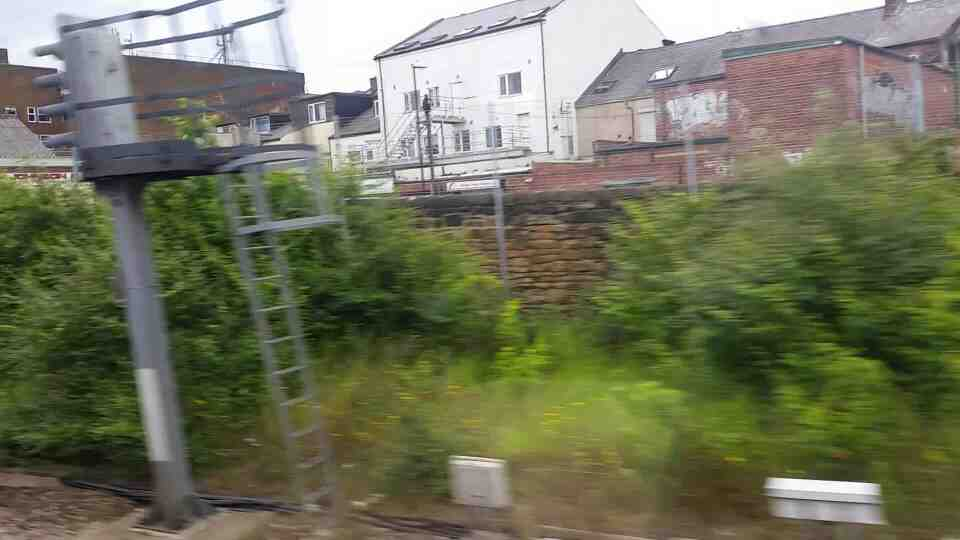 Heading away from Monkwearmouth on a Northern Rail Middlesbrough to Newcastle train