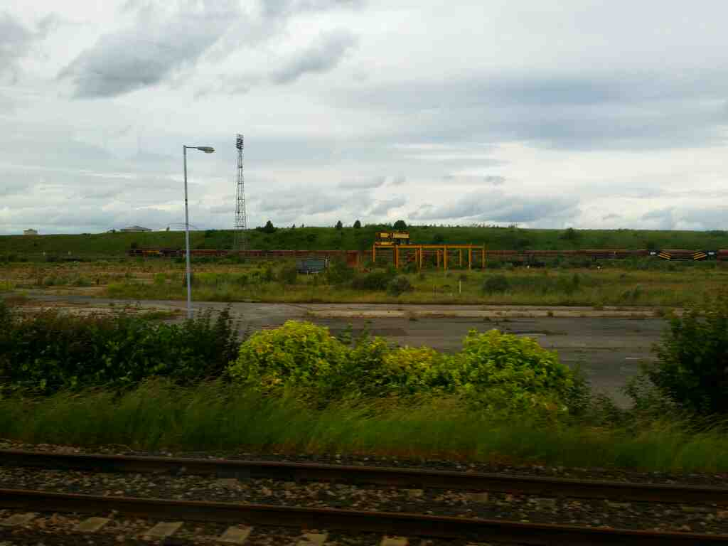 Passing the site of the old Thornaby locomotive depot on a Northern Rail Middlesbrough to Newcastle train
