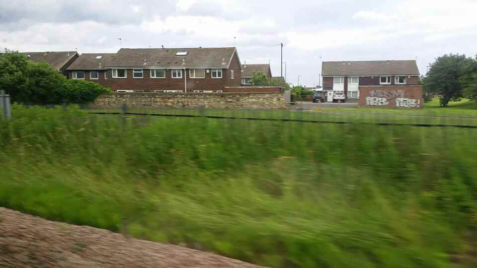 Heading away from Stadium of Light on a Northern Rail Middlesbrough to Newcastle train
