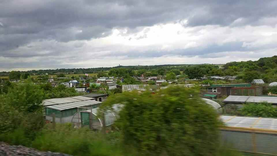 Passing Allotments west of Seaburn on a Northern Rail Middlesbrough to Newcastle train