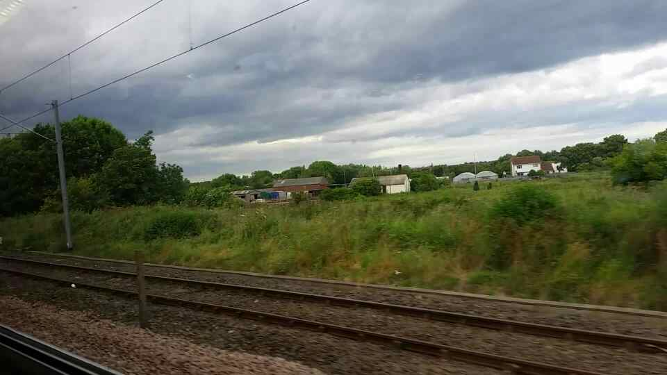 Between East Bolden and Brockley Whins on a Northern Rail Middlesbrough to Newcastle train