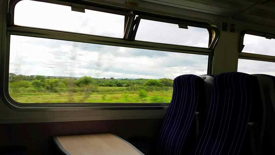 A view out of the opposite side of the train on a Northern Rail Middlesbrough to Newcastle train