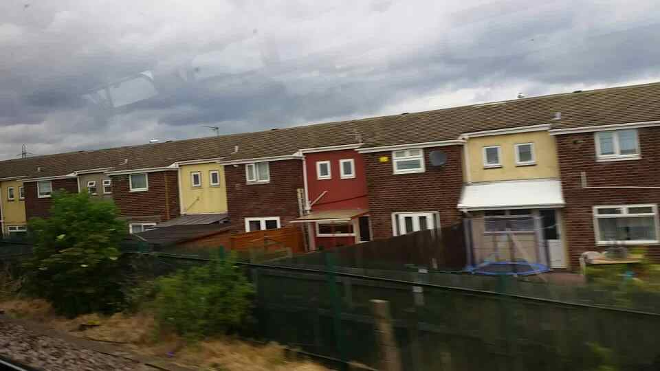 The back of Masefield Drive on a Northern Rail Middlesbrough to Newcastle train