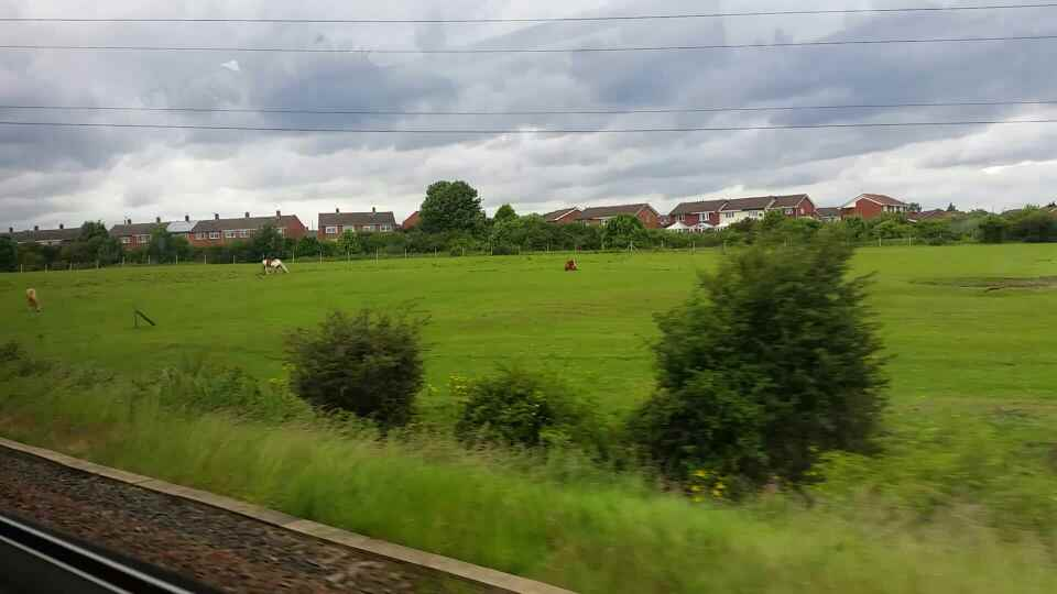 Approaching Brockley Whins Tyne and Wear Metro Station on a Northern Rail Middlesbrough to Newcastle train