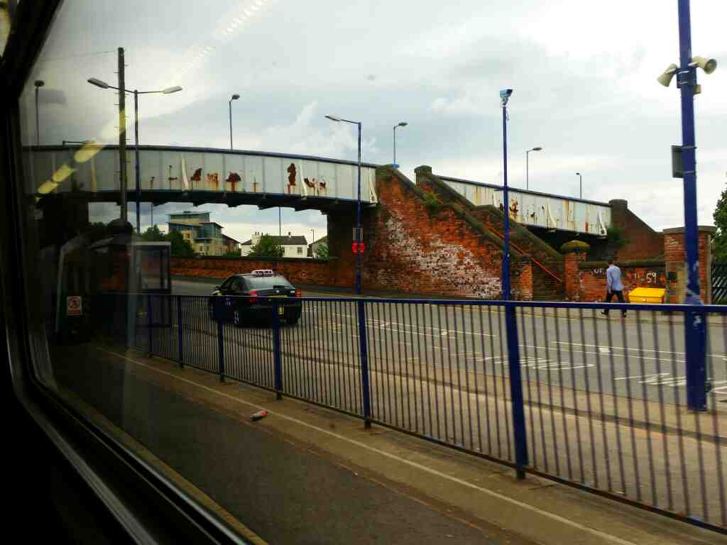 Approach road to Thornaby station on a Northern Rail Middlesbrough to Newcastle train