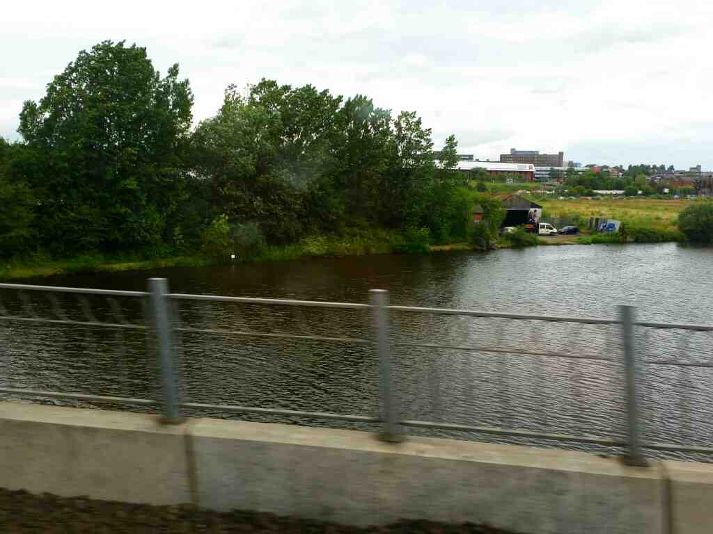 Crossing the River Tees between Thornaby and Stockton on Tees on a Northern Rail Middlesbrough to Newcastle train
