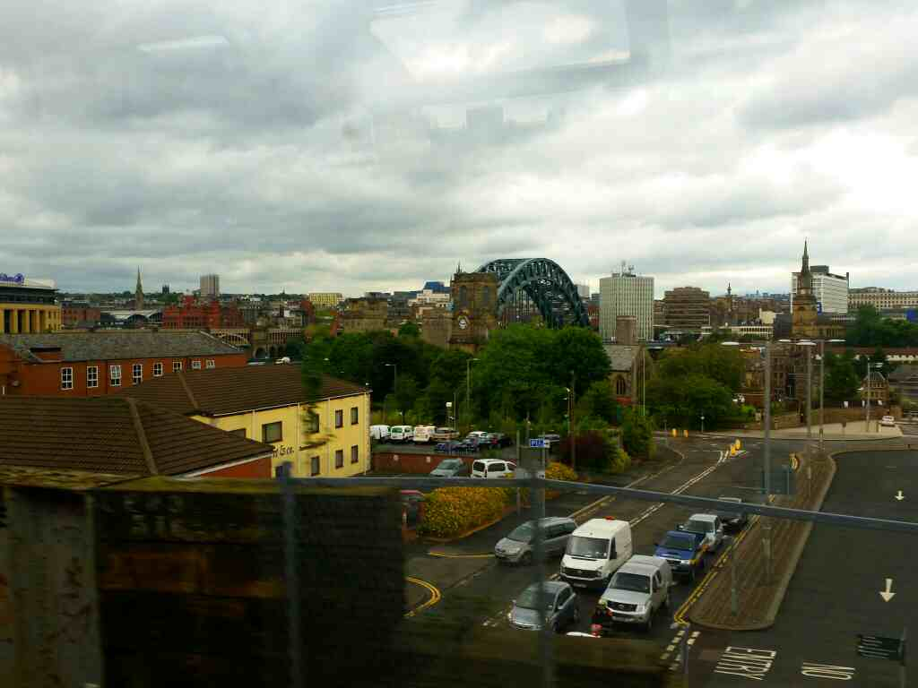View of the Tyne Bridge on a Northern Rail Middlesbrough to Newcastle train