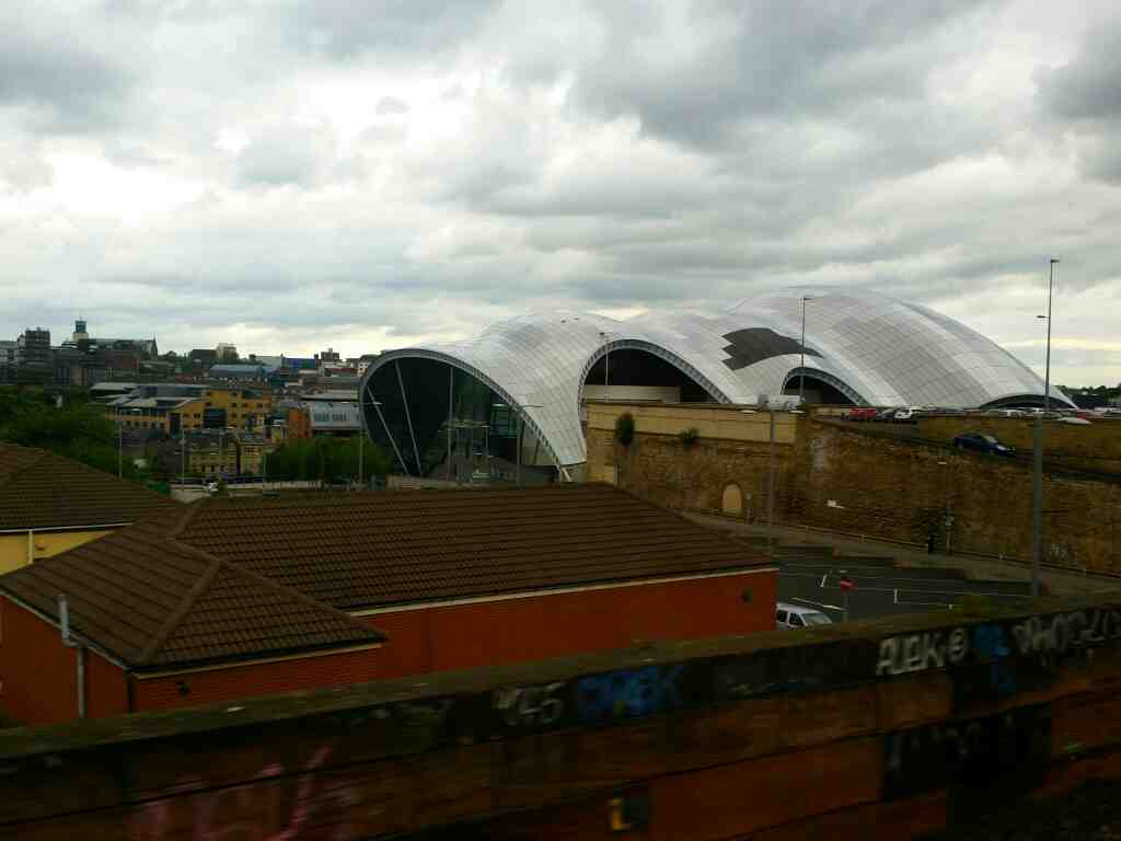 A view of The Sage Gateshead.North East England on a Northern Rail Middlesbrough to Newcastle train