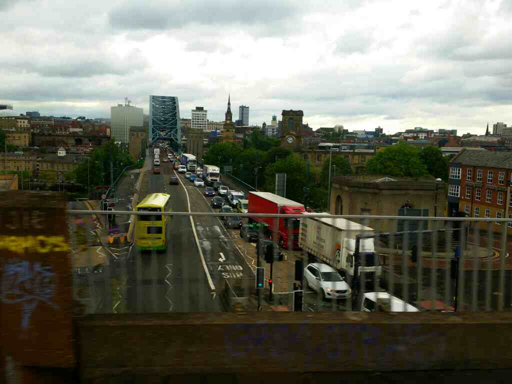 View across the Tyne Bridge on a Northern Rail Middlesbrough to Newcastle train