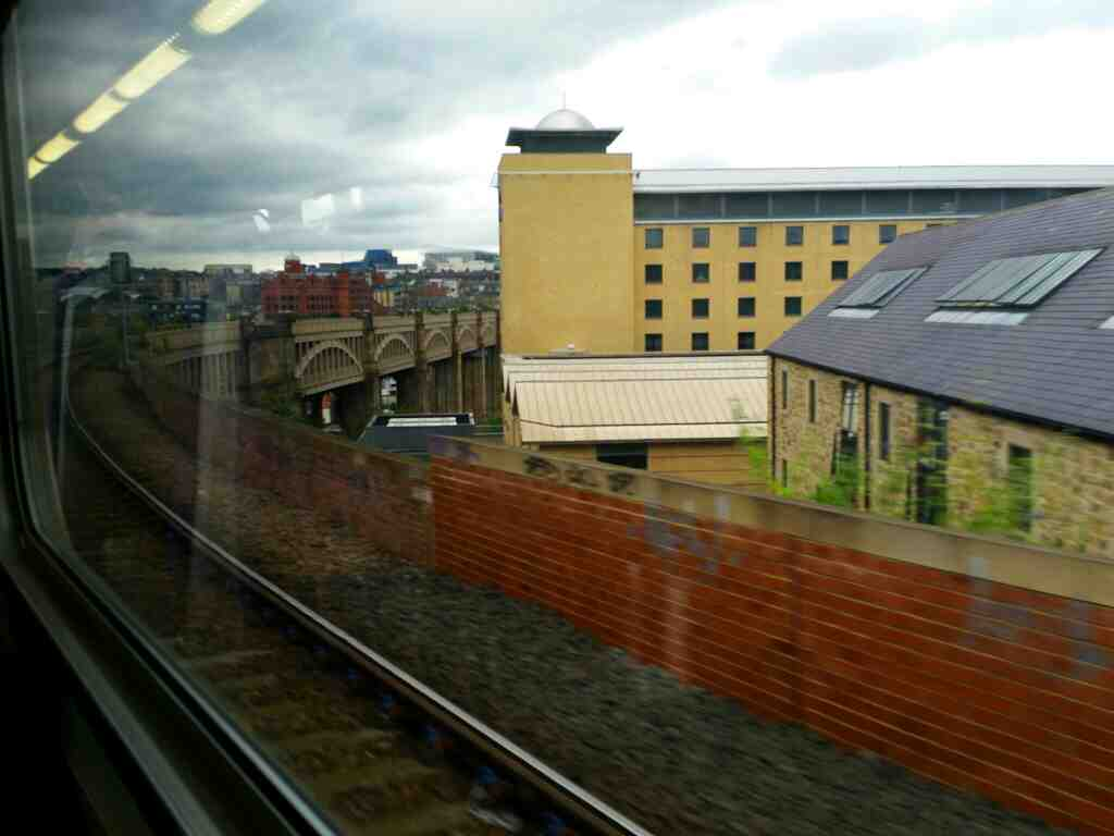 The High Level Bridge Newcastle on a Northern Rail Middlesbrough to Newcastle train