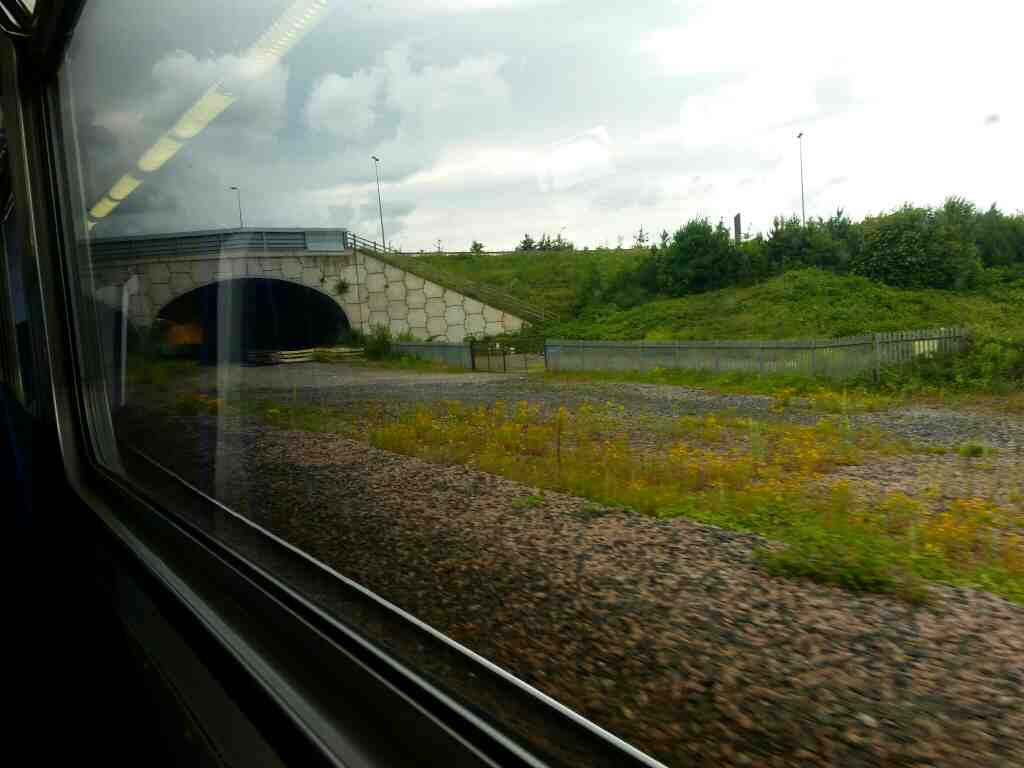 Crossing under the A135 between Thornaby and Stockton On Tees on a Northern Rail Middlesbrough to Newcastle train