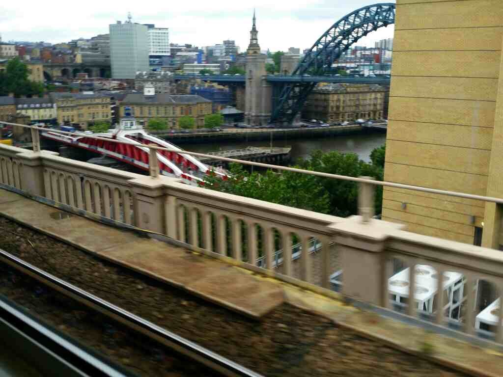 A view of the Swing Bridge Newcastle on a Northern Rail Middlesbrough to Newcastle train