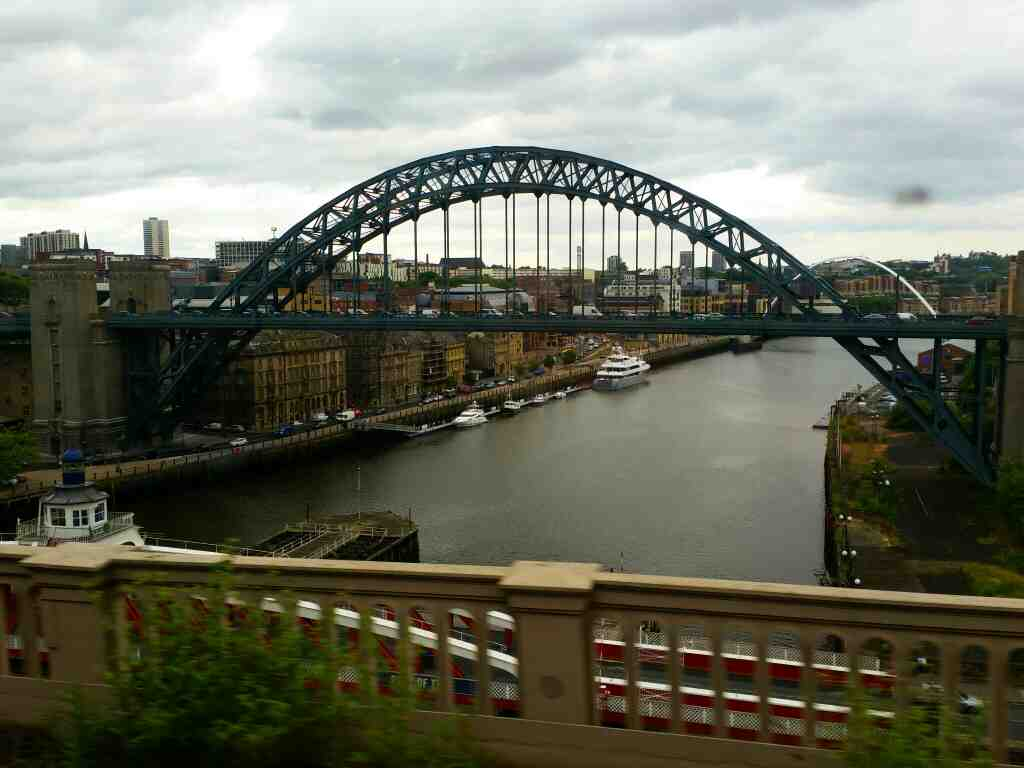 The Tyne Bridge Newcastle Upon Tyne on a Northern Rail Middlesbrough to Newcastle train