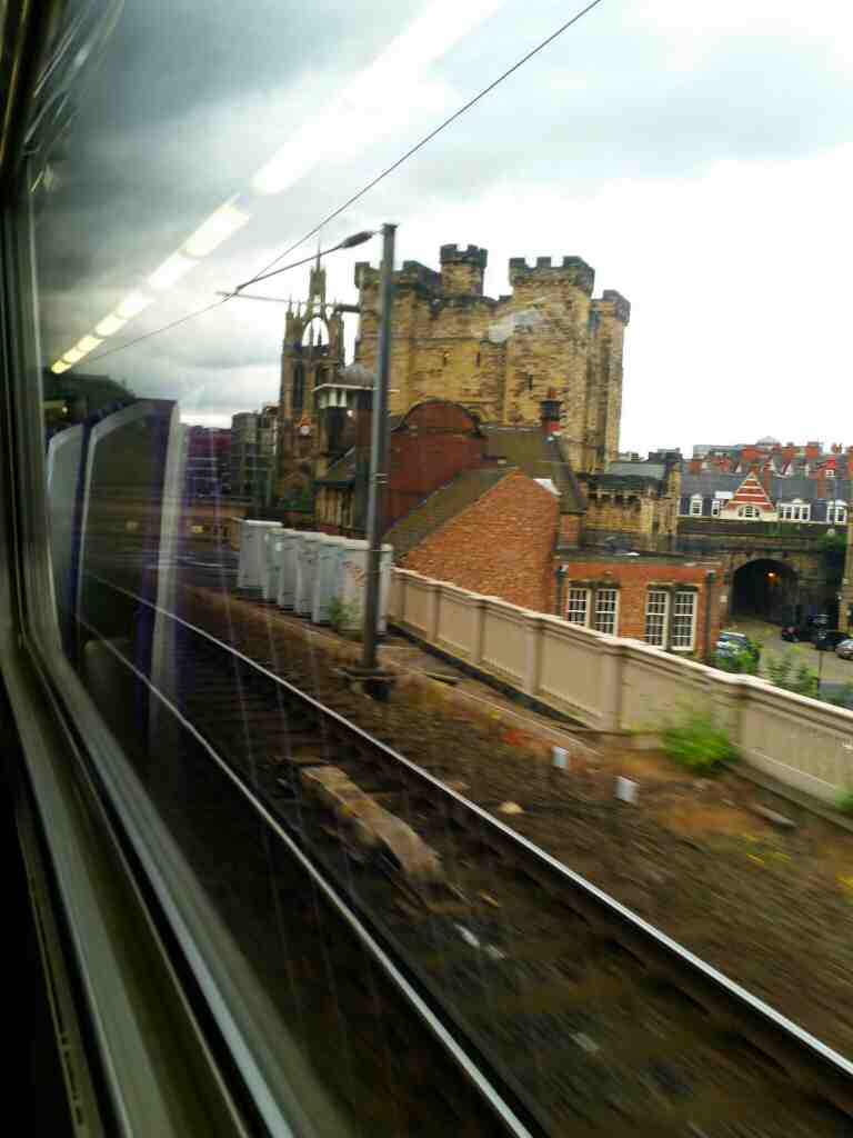 Passing the Castle Keep Newcastle on a Northern Rail Middlesbrough to Newcastle train