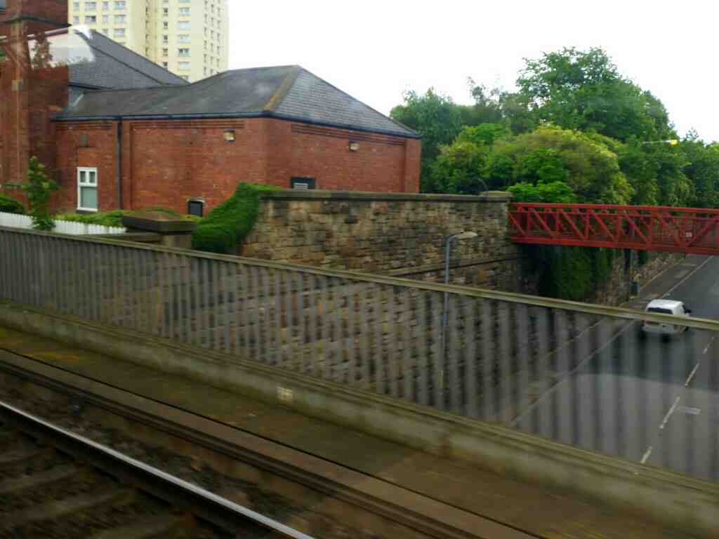 Crossing Bishopton Lane Stockton On Tees on a Northern Rail Middlesbrough to Newcastle train