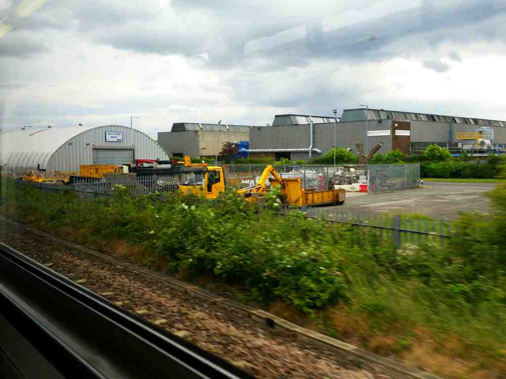 Salt store Depot Billingham on a Northern Rail Middlesbrough to Newcastle train