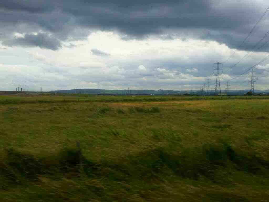 Looking towards the Cleveland Hills from between Billingham and Seaton Carew on a Northern Rail Middlesbrough to Newcastle train