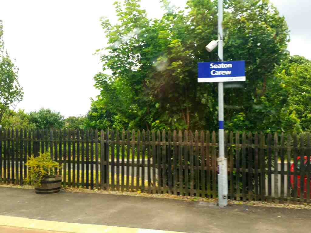 Seaton Carew Station on a Northern Rail Middlesbrough to Newcastle train