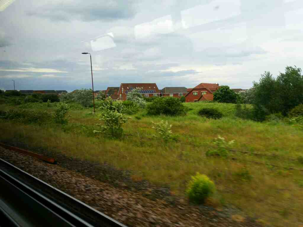 Between Seaton Carew and Hartlepool on a Northern Rail Middlesbrough to Newcastle train
