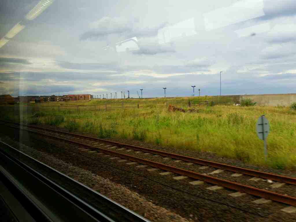 A view of the national cycle route to Seaton Carew on a Northern Rail Middlesbrough to Newcastle train